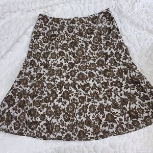 Ann Taylor Size 6 White Brown Floral Flare Skirt